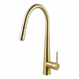 Pentro Round Pull Out Kitchen Mixer Brushed Yellow Gold