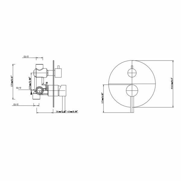 Pentro Round Shower Mixer-M Brushed Nickel_size