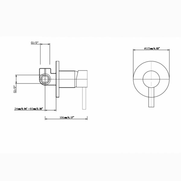 Pentro Round Shower Mixer Tap-M Brushed_size
