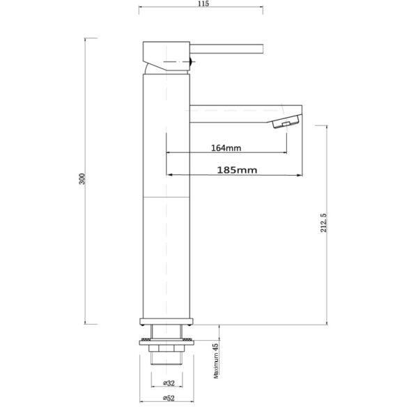Pentro Round Tail Basin Mixer-M Brushed Nickel_size