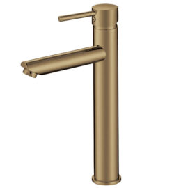 Pentro Round Tall Basin Mixer Brushed Yellow Gold