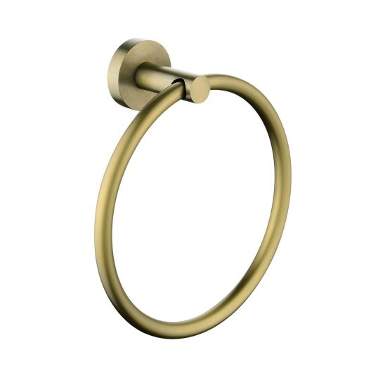 Pentro Round Wall Mounted Round Hand Towel Ring Brushed Yellow Gold