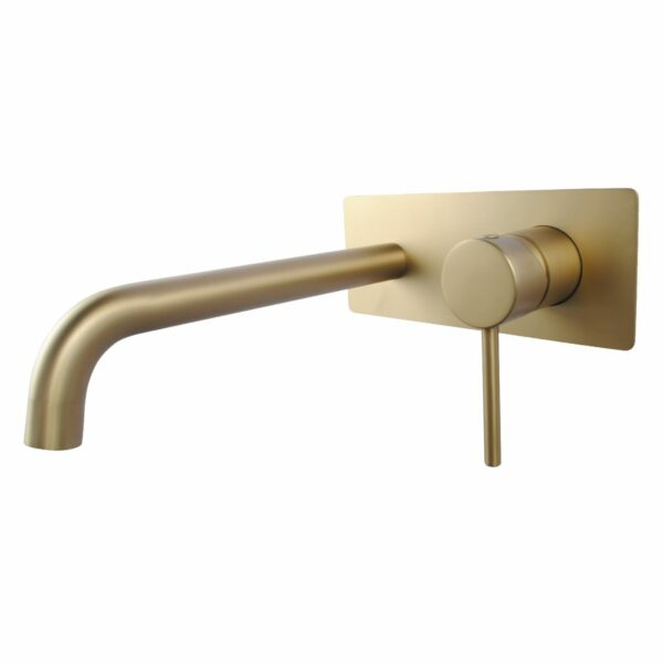 Pentro Wall Mixer With Round Spout Brushed Yellow Gold