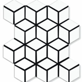 Porcelain Mosaic Diamond Cube 83x48 Matt White