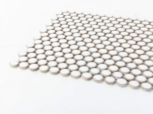 Porcelain Mosaic Big Penny Round D19 White Glossy