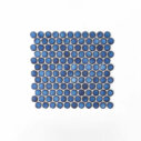 Porcelain Mosaic Big Penny Round D28 Blue Glossy
