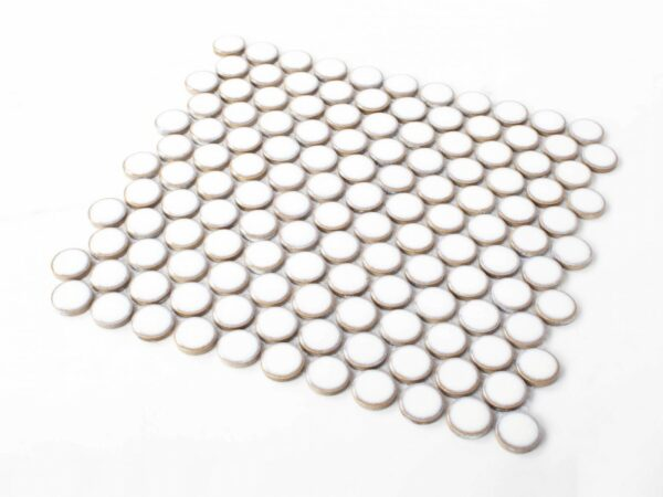 Porcelain Mosaic Big Penny Round D28 White Glossy