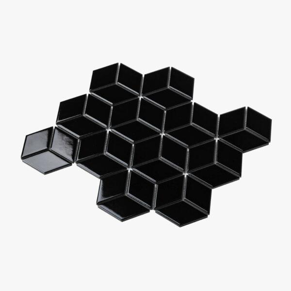 Porcelain Mosaic Diamond Cube 83x48 Gloss Black