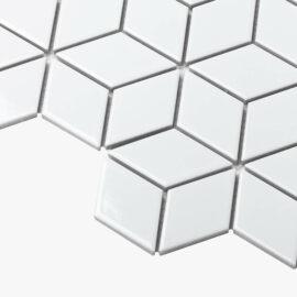 Porcelain Mosaic Diamond Cube 83×48 Gloss White