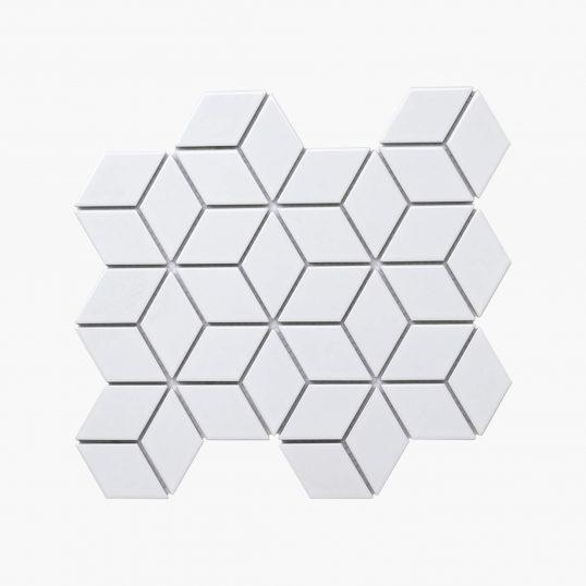 Porcelain Mosaic Diamond Cube 83x48 Gloss White