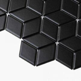 Porcelain Mosaic Diamond Cube 83×48 Matt Black
