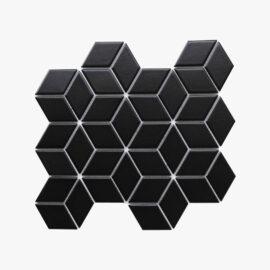 Porcelain Mosaic Diamond Cube 83x48 Matt Black