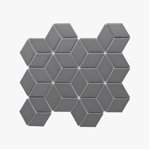 Porcelain Mosaic Diamond Cube 83x48 Matt Grey