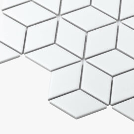 Porcelain Mosaic Diamond Cube 83×48 Matt White