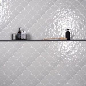 Porcelain Mosaic Fish Scale Light Grey 73x73 Glossy