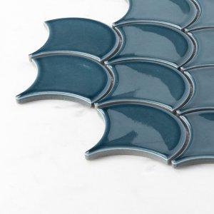 Porcelain Mosaic Fish Scale Marina Blue 73x73 Glossy