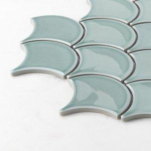 Porcelain Mosaic Fish Scale Sky Blue 73x73 Glossy