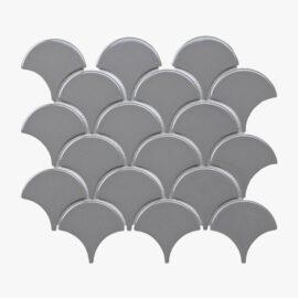 Porcelain Mosaic Fish Scale 75×75 Gloss Grey