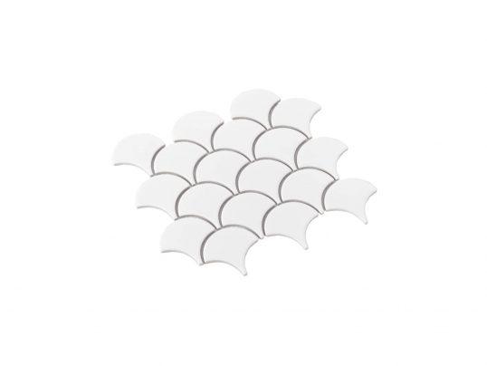 Porcelain Mosaic Fish Scale 75x75 Gloss White Sample