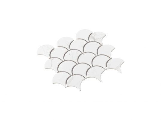 Porcelain Mosaic Fish Scale 75x75 Matt Carrara
