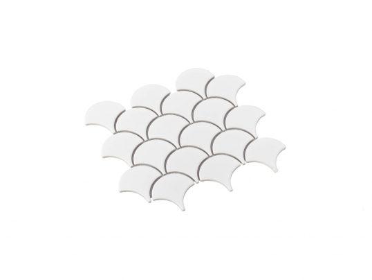 Porcelain Mosaic Fish Scale 75x75 Matt White