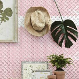 Porcelain Mosaic Fish Scale Pink 73×73 Glossy