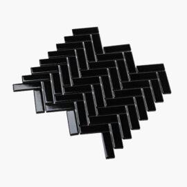 Porcelain Mosaic Herringbone 25×75 Gloss Black