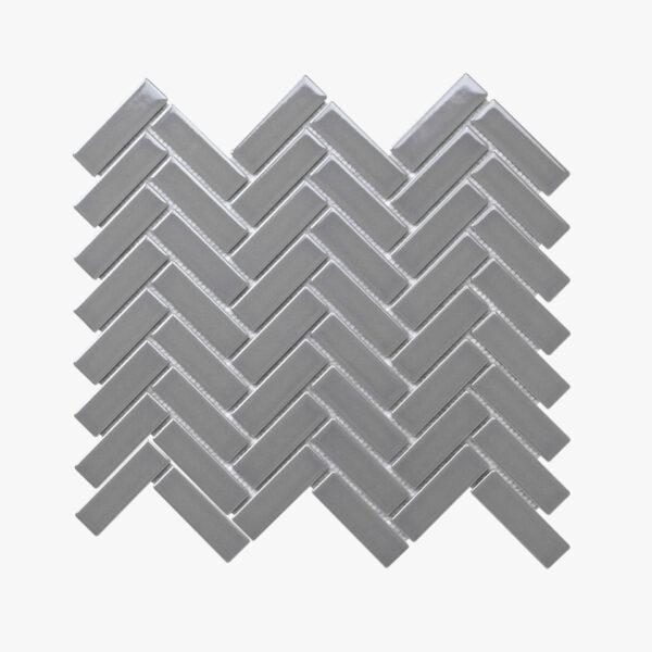 Porcelain Mosaic Herringbone 25×75 Gloss Grey