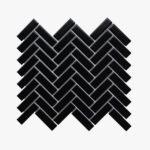 Porcelain Mosaic Herringbone 25×75 Matt Black_top