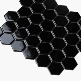 Porcelain Mosaic Hexagon 51×59 Gloss Black
