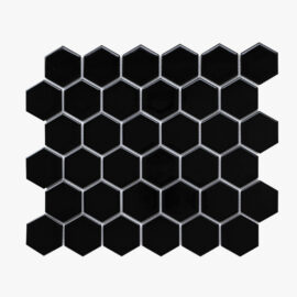 Porcelain Mosaic Hexagon 51×59 Gloss Black_