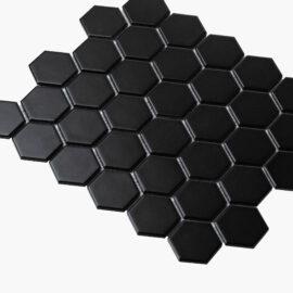 Porcelain Mosaic Hexagon 51×59 Matt Black