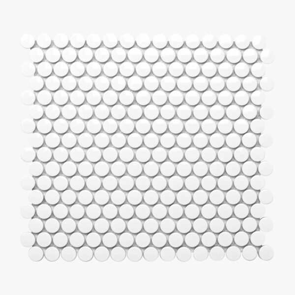 Porcelain Mosaic Penny Round D20 Gloss White