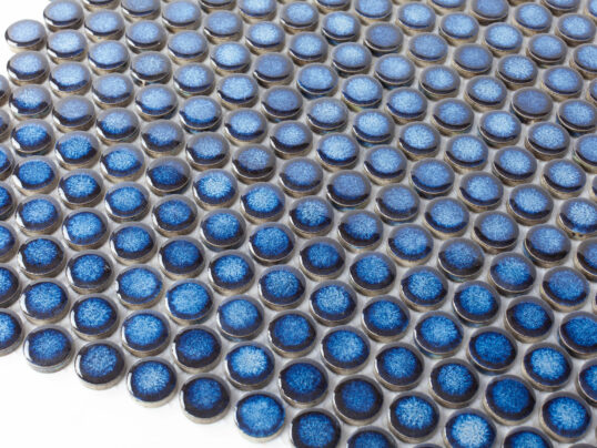 Porcelain Mosaic Small Penny Round D19 Blue Glossy