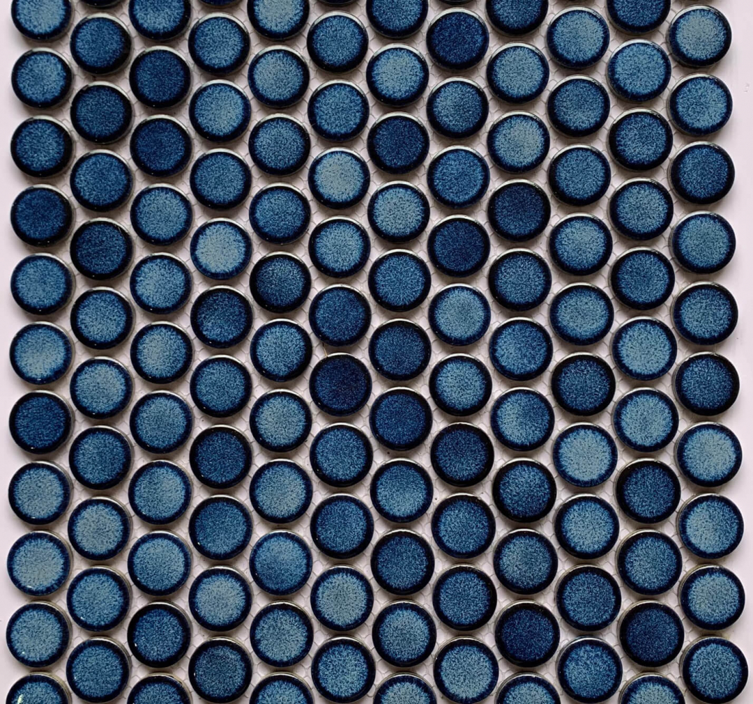 Procelain Mosaic Big Penny Round 291×315 Blue Glossy