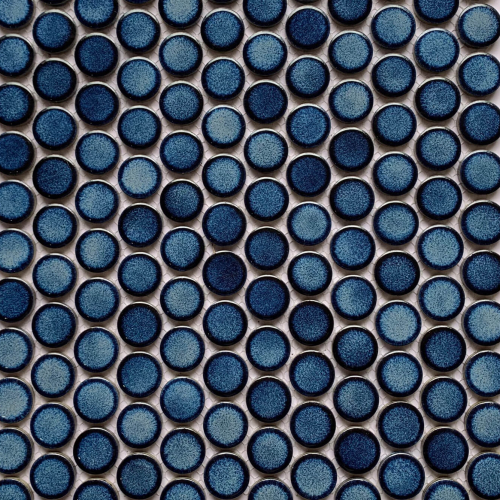 Procelain Mosaic Big Penny Round 291×315 Blue Glossy