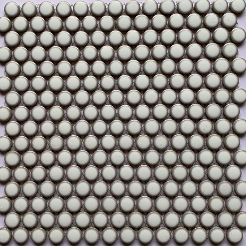 Procelain Mosaic Small Penny Round 291x315 White Glossy