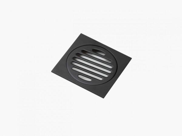 Square Floor Waste Electroplate Black Finish 100×100_eccom